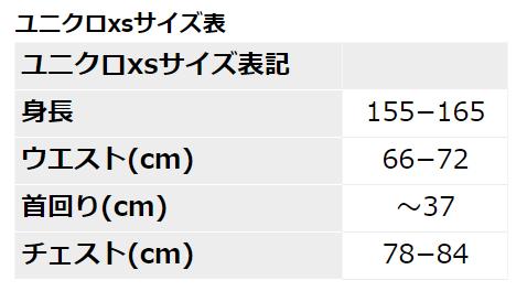 ユニクロxsサイズ表
