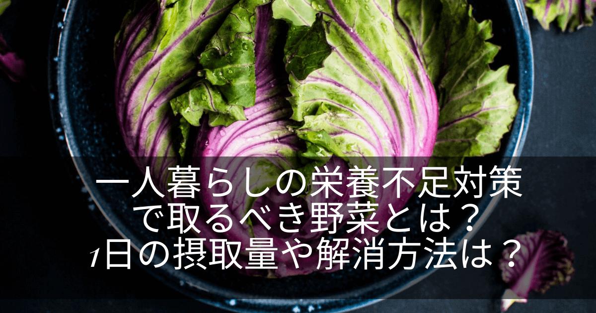 一人暮らしの栄養不足対策で取るべき野菜とは? 1日の摂取量や解消方法は? (1)